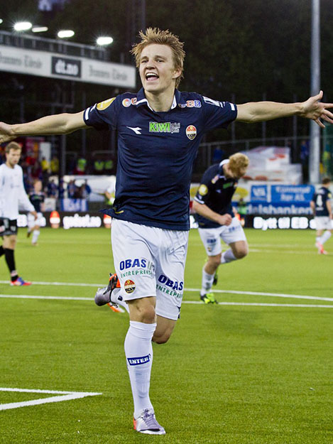 Photo: Vegard Grøtt / NTB Scanpix / NRK Martin Ødegaard, making history by playing in a European Championship qualifier earlier this year. At 15, he was the youngest player ever to do so.