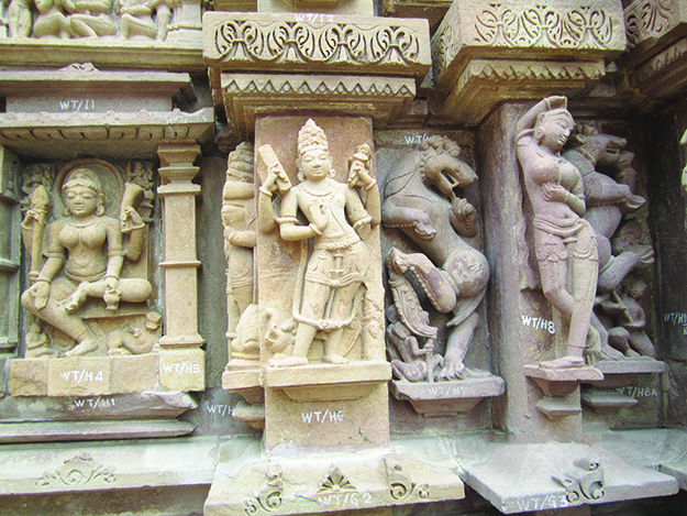Photo: Thor A. Larsen Examples of the spectacular stone carvings on the Jain Temples in Khajuraho.