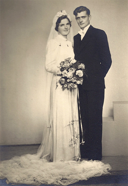Photo courtesy of Jon Lind My parents' wedding portrait, 1940.