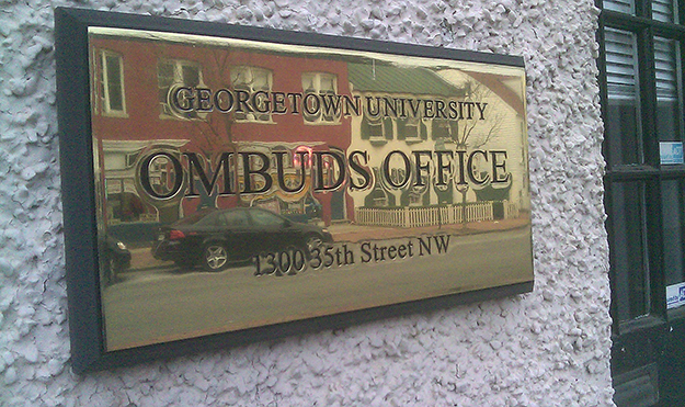 Photo: Enricokamasa / Wikimedia Georgetown University Ombuds Office sign.