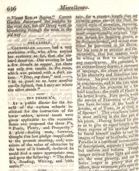 "Photo courtesy of Dr. Jeannie Batchelor,  University of Kent First mention in print of ""the three R's,"" in annual supplement of British monthly The Lady's Magazine for 1818 (Vol. XLIX)."