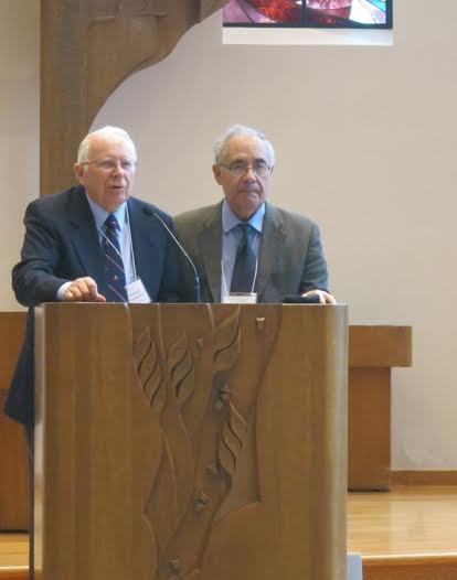 Photo: Ernst F. Tonsing Parallels between ancient Greek culture and the Norse sagas are highlighted by Apostolos Athanassakis, right, who traveled from Athens to CLU. Left, Howard K. Rockstad, founder and director of the Nordic Spirit Symposium for 16 years.