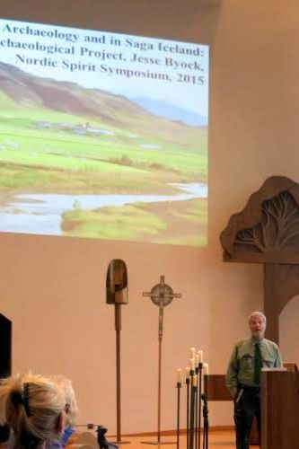 Photo: Ernst F.  Tonsing Archaeologist and saga expert Jesse Byock opens the Saturday session of the Nordic Spirit Symposium with updates on the Mosfell dig in Iceland.