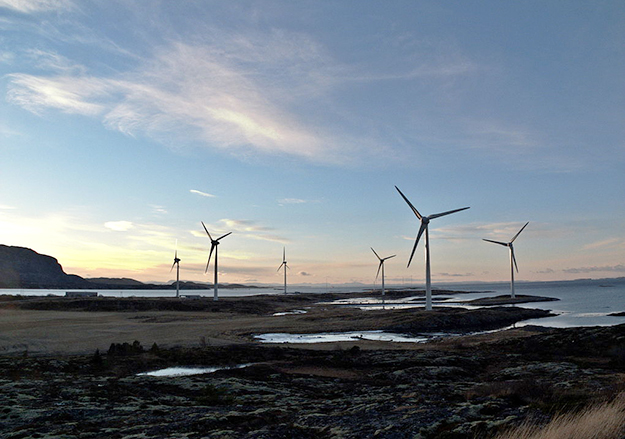 Photo: Tommy Gildseth / Wikimedia Commons The Valsneset wind farm in Norway.