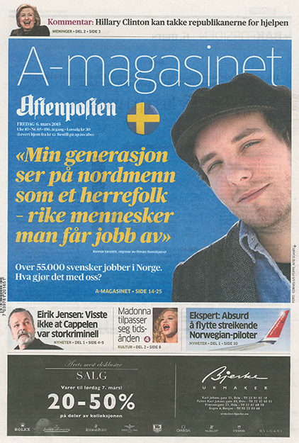 Front page of Friday, March 6, 2015 edition of Aftenposten