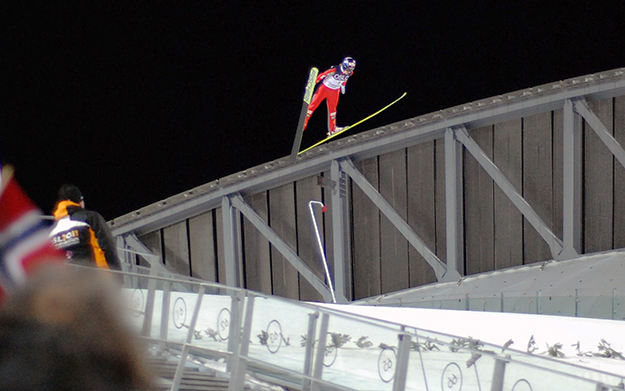 Photos: Thomas Andersen / Wikimedia Sagen flies at the opening jump of the new Holmenkollen ski jump in 2010.