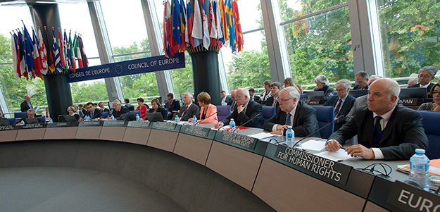 Photo: Congress of  local and regional authorities / Flickr Nils Muižnieks (far right) attends a Council of Europe meeting in September 2014.