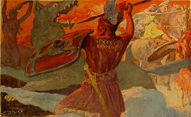 Photo: Wikimedia Commons A scene from Ragnarök, the final battle between Odin and Fenrir and Freyr and Surtr. Art by Emil Doepler ca. 1905. Walhall, die Götterwelt der Germanen. Martin Oldenbourg, Berlin. Page 55. U.S. Public Domain.