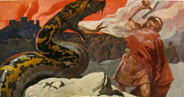 Photo: Wikimedia Commons A scene from Ragnarök, the final battle between Thor and Jörmungandr. Art by Emil Doepler ca. 1905. Walhall, die Götterwelt der Germanen. Martin Oldenbourg, Berlin. Page 56. U.S. Public Domain