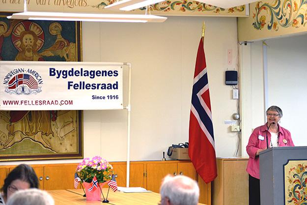 Photo: Gary G. Erickson Fellesraad President Marilyn Somdahl speaks at the recent planning meeting.