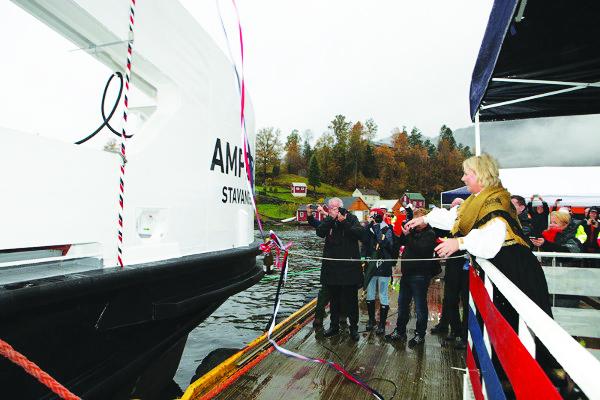 Photo: Tor Arne Aasen, courtesy of Fjellstrand, On October 23, 2014, Minister of Trade and Industry Monica Mæland christened Ampere at the Fjellstrand shipyard at Omastrand on the Hardangerfjord.