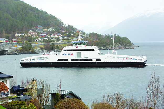 Photo:  © Siemens AG / Reprinted from Siemens' Pictures of the Future online magazine The Ampere ferry approaching Lavik.