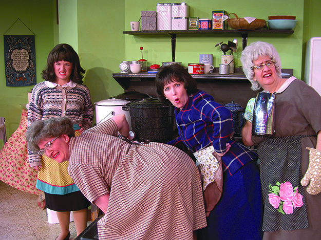 Photo courtesy of Plymouth Playhouse From left to right, the Church Basement Ladies: Tara Borman (Mrs. Harry Hauge / Beverly), Greta Grosch (Mrs. Gilmer Gilmerson / Mavis), Dorian Chalmers (Mrs. Elroy Engelson / Karin), and Janet Paone (Mrs. Lars Snustad / Vivian).