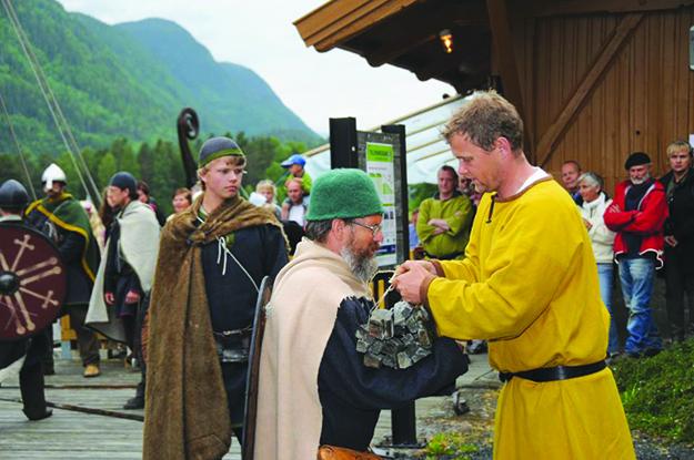 Photo courtesy of Olavs Menn Olavs Menn take whetstones to the Viking ship at Lastein, Dalen, in Telemark.
