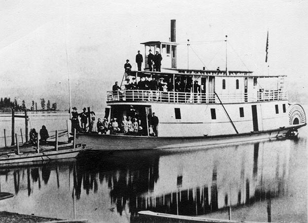 Photo courtesy of the Museum of North Idaho Sorenson's first steamboat, the Amelia Wheaton, with which he explored the uncharted waters of Lake Coeur d'Alene.