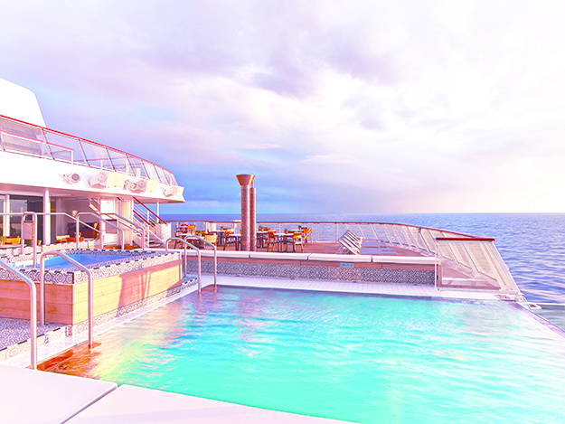 "Photo courtesy of Viking Cruises The Viking Star's infinity pool on it's ""Aquavit Deck."""