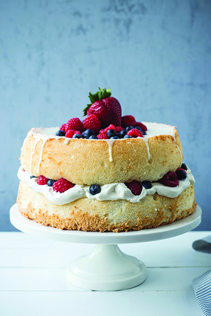 Photo: Maria Stordahl Nelson Reminiscent of bløtkake, this cardamom angel cake brims with berries and cream.