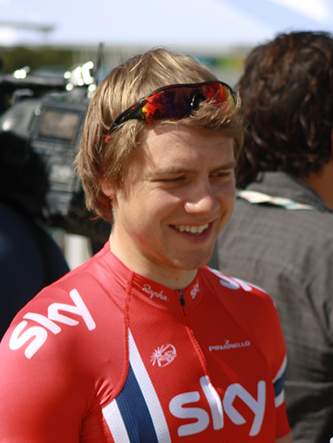 Photo: cas_ks / Wikimedia Commons  Edvald Boasson Hagen at the 2013 Tour Down Under—also wearing the Norwegian champion jersey after his 2012 win.