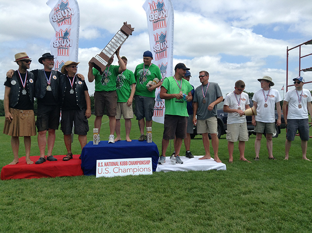 Photo courtesy of the U.S. National Kubb Championship  Furor Celtica won the honor of having their names added to the meter-high Stapp King.