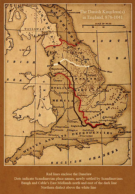 Photo: Map 1, page 33, English: The Language of the Vikings Map of the Danish Kingdom(s) in England, 878-1041.