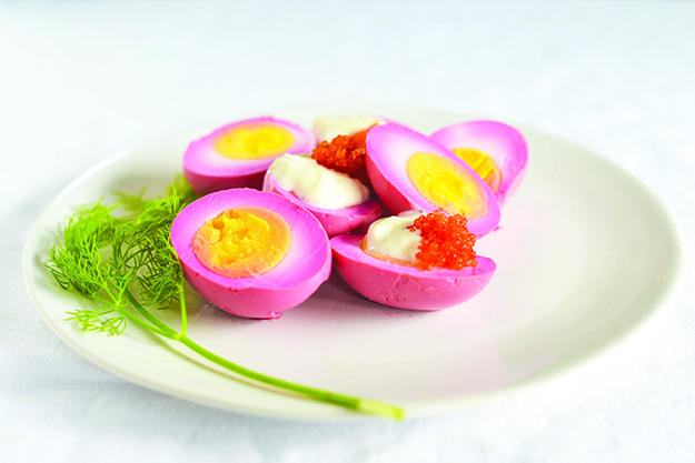 Photos: Daytona Strong These eggs get their vibrant color from beets.