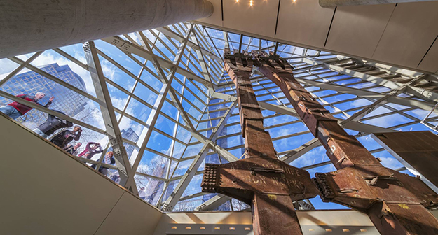Photo: Jeff Goldberg / Etsos The most striking feature of the September 11th Memorial is the pair of steel beams from the original towers. Much of the design work centered around them.