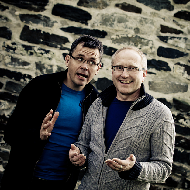 """Photo: courtesy of Uppstad and Waade Comedic storytellers and musicians Per Henning Uppstad and Odd Ragnar Waade Ommundsen will perform with Norway's """"Sting,"""" Kjell Inge Torgersen on a Midwest tour."""
