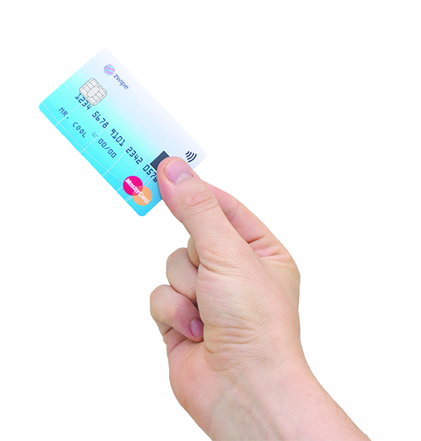 Photo courtesy of Zwipe The fingerprint sensor on the pilot MasterCards works by verifying the biometric data stored in the card, so that only its owner can make purchases using that card.
