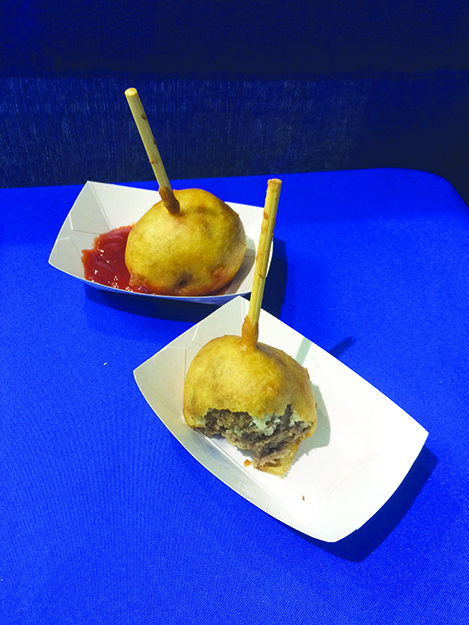 "Photos: Darin Lietz ""Viking on a Stick"" is at the intersection of Nordic cuisine and fair food; it's a deep-fried meatball."