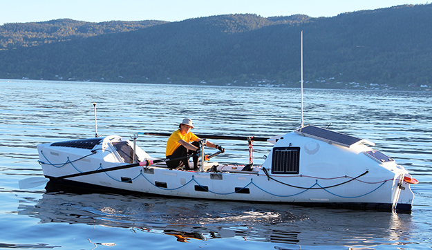 Photos courtesy of Stein Hoff  Hoff sits aboard Fox II, the ocean-going rowboat that will take him from New York to the coast of England in 2016. The 70-year-old Norwegian will be retracing the route that two Norwegian-Americans rowed some 120 years ago.