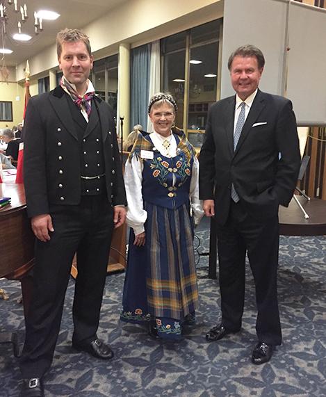 Photo: Molly Jones Fourth-generation goldsmith Jørgen Sando, Grand Lodge Secretary Marcia Comer, and Honorary Consul Kim Nesselquist at the event.