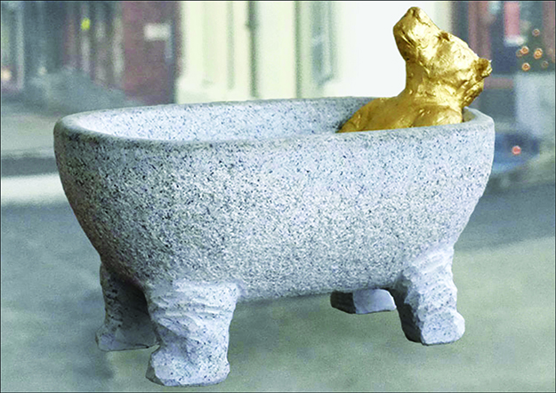 """Photo courtesy of the City of Sarpsborg In """"Flod"""" the bear in the bathtub depicts the animal prominently featured on Sarpsborg's coat of arms."""
