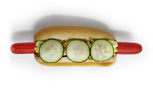 Photo: Revolving Dansk The Copenhagen Street Dog is topped with an assortment of goodies.