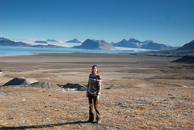 Photo: Caroline Freissinet Freissinet against the barren landscape of Svalbard. If it weren't for the obvious surface water in the distance and breathable atmosphere, this could almost be Mars.