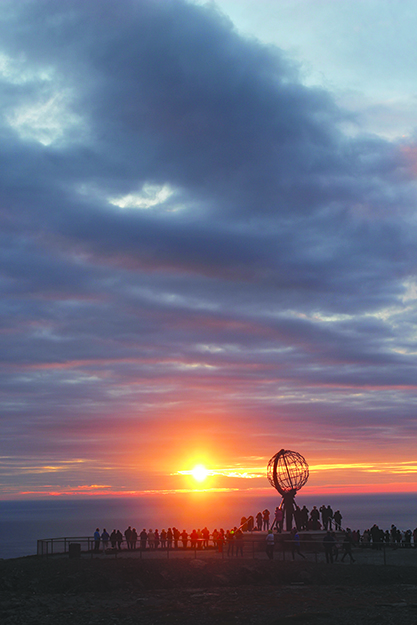 """Photo: Andrew P. Sykes / Cyclingeurope.org Sykes's trip to Nordkapp """"was about as challenging as a long-distance cycle through Europe could get,"""" but he was thrilled to reach the continent's northernmost point in time to see the midnight sun."""