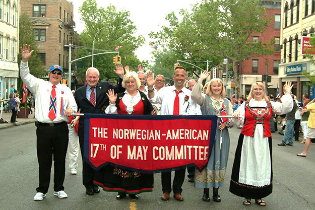Photo courtesy of Arlene Bakke Rutuelo Norwegians in Brooklyn: this year's Syttende Mai Parade begins with the parade chair, committe chairs, and N.Y. Senator Martin J. Golden (who isn't Norwegian).