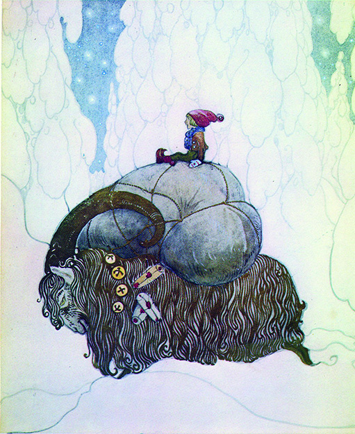 Photo: Public Domain,  Artist John Bauer's depiction of Julebocken carrying presents at Christmastime.