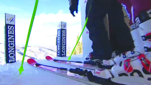 Photo: NRK A shot of his secret skis, sporting rods that expert Kjetil André Aamodt says make them more stable and also boost power.