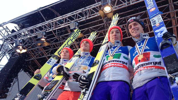 Photo: Anders Engeland / NRK The young Norwegian team surprised everyone—including themselves—by winning the FIS World Championship team competition in Austria.