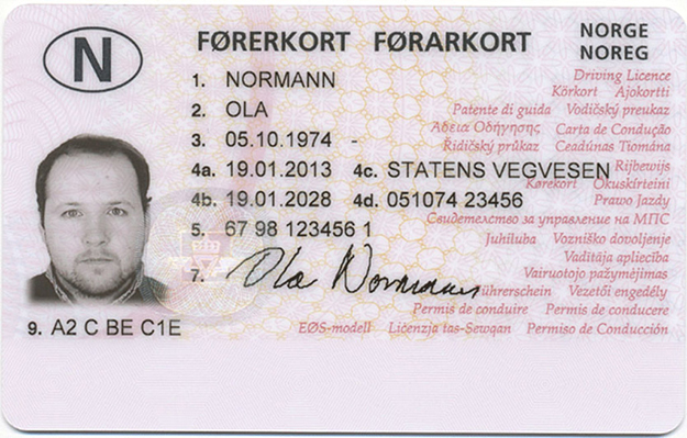 "Photo: Norwegian Public Roads Administration Current Norwegian Driver's License front. ""Ola Normann"" is the hypothetical average man, equivalent to ""John Doe"" in the U.S."