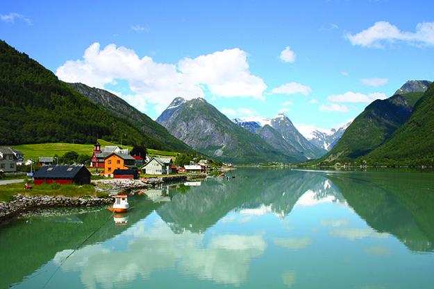 Photo: Karen Weichert Fjærland fjord and village.