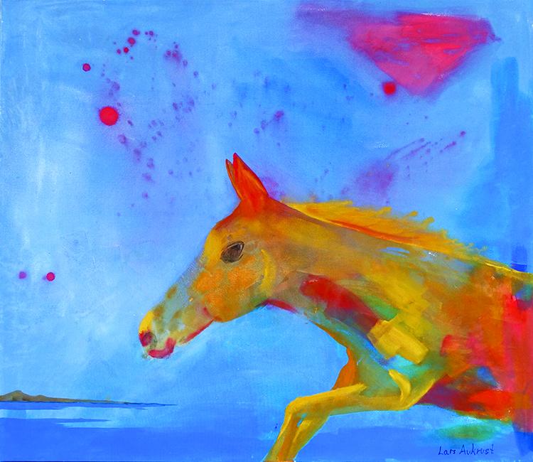 "Photo courtesy of Agora Gallery Lars Aukrust, ""The Black Horse and a Cherry Tree,"" Acrylic on Canvas, 51"" x 59""."