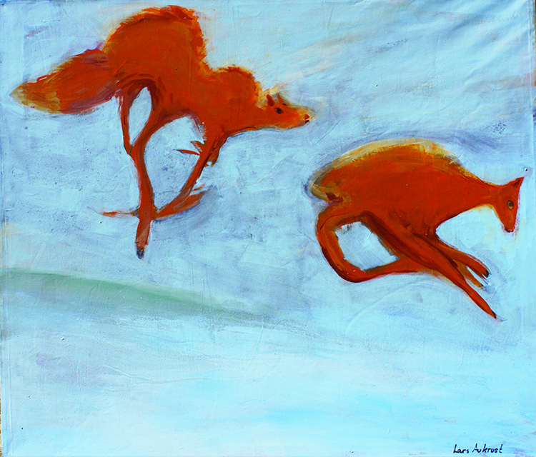 "Photo courtesy of Agora Gallery Painting by Lars Aukrust, ""What Does the Fox Say?"", Acrylic on Canvas, 51"" x 59""."