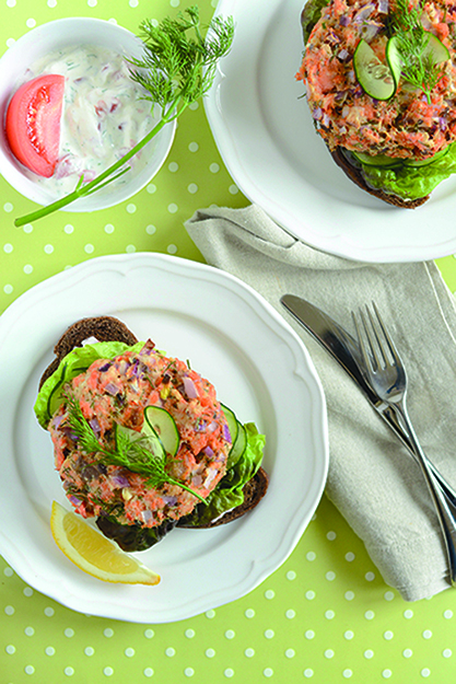 Photo: Daytona Strong The bright flavors of dill, garlic, and tomatoes enliven this Scandi-style salmon sandwich.