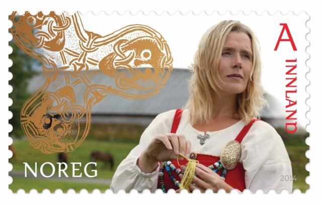 """Stamp image: Norway Post """"Handicrafts,"""" domestic first-class rate."""