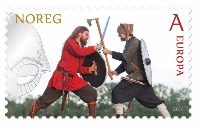 """Stamp image: Norway Post """"Battle,"""" within Europe first-class rate. These stamps are part of a campaign to undo the damage the Nazis did to the Vikings' good name during WWII."""