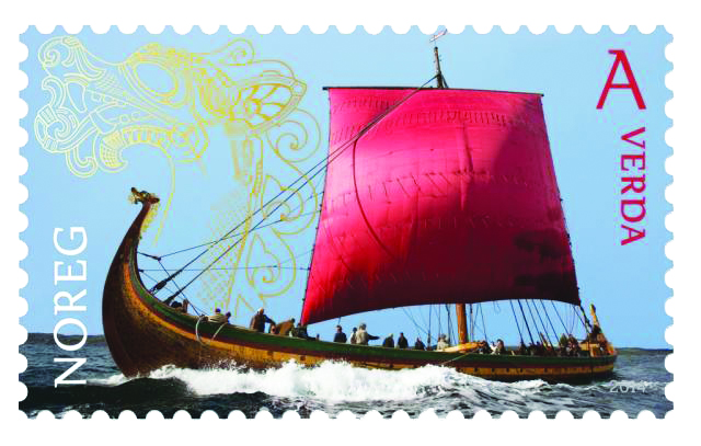 "Stamp image: Norway Post 2014 Viking commemorative stamp, ""longship,"" world outside Europe rate."