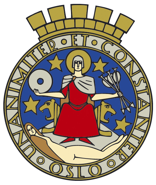 Photo courtesy of Oslo Kommune The coat of arms of Oslo, depicting patron Saint Hallvard.