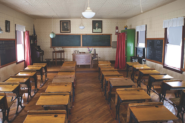 Photo: Lars Wanberg The preserved one-room schoolhouse at Pembina County Museum in northeast North Dakota, connected to the State Historical Society. Note the globe suspended from the ceiling.