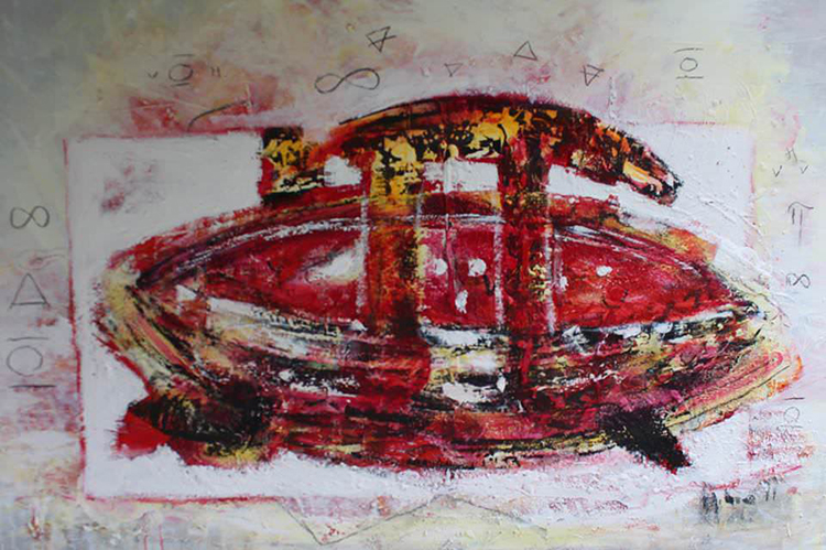 Photo courtesy of Agora Gallery The Great Journey of Pi and Me 3, Acrylic on Canvas, 39.5 x 59.